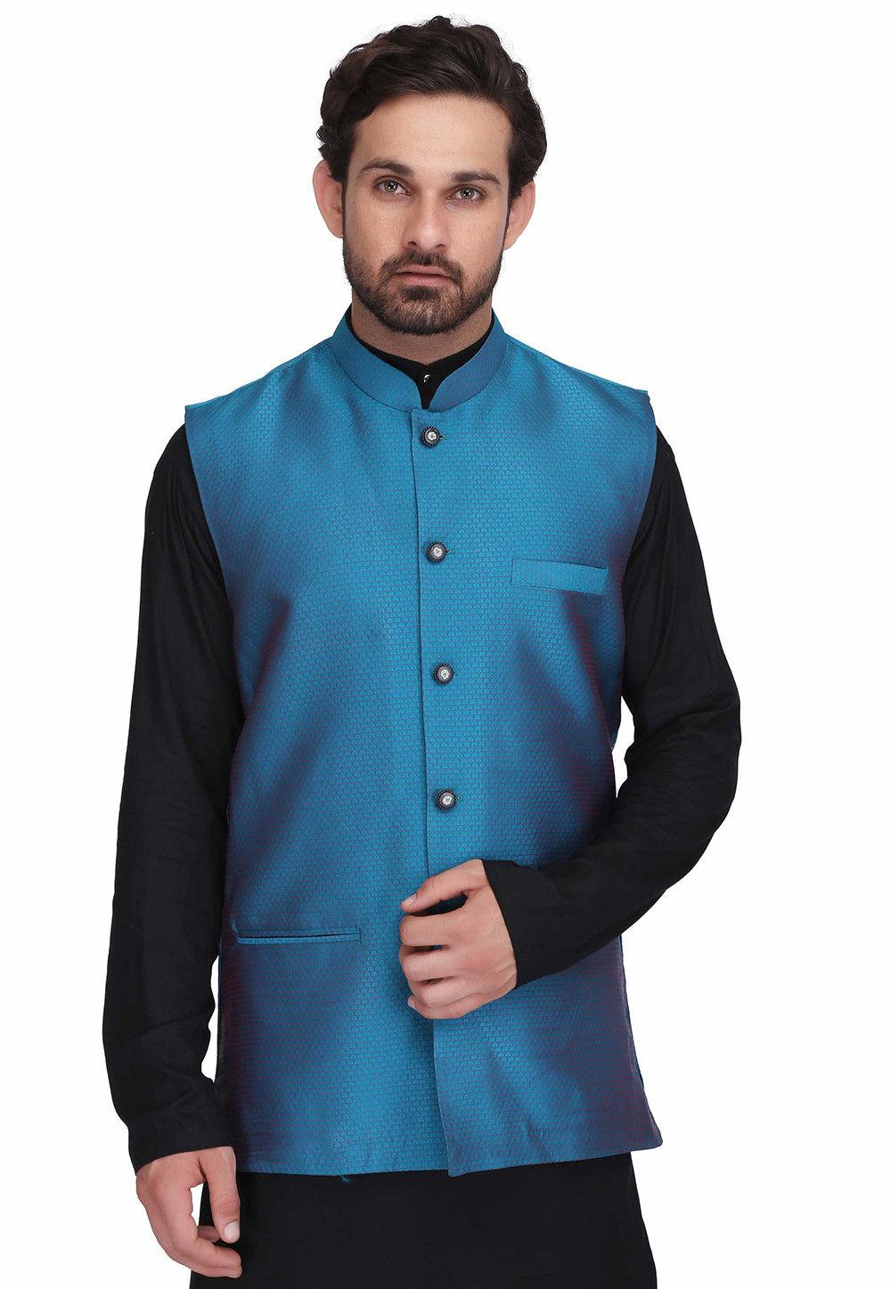 Woven Art Silk Jacquard Nehru Jacket in Teal Blue