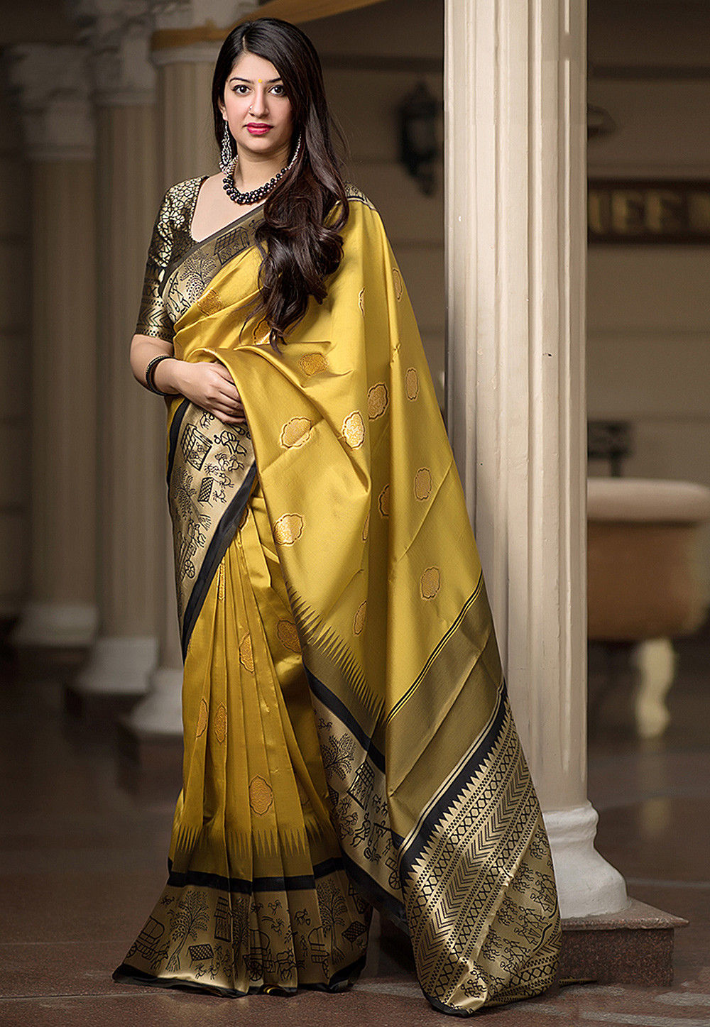 b842869524 Woven Art Silk Saree in Mustard and Black : SPTA1111