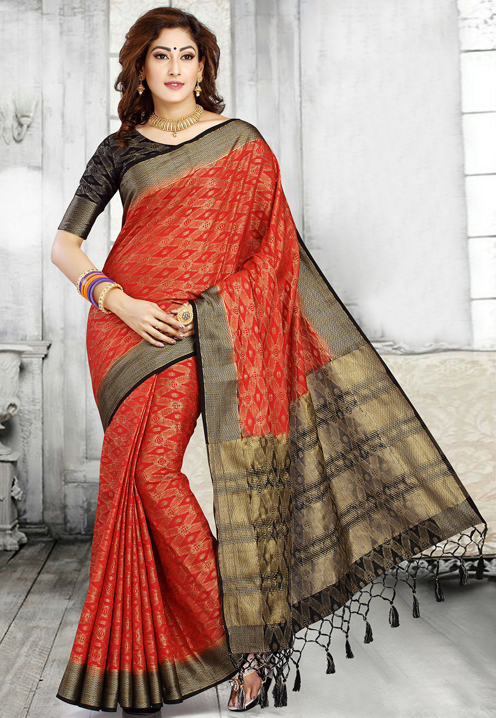 Woven Art Silk Saree in Red and Black