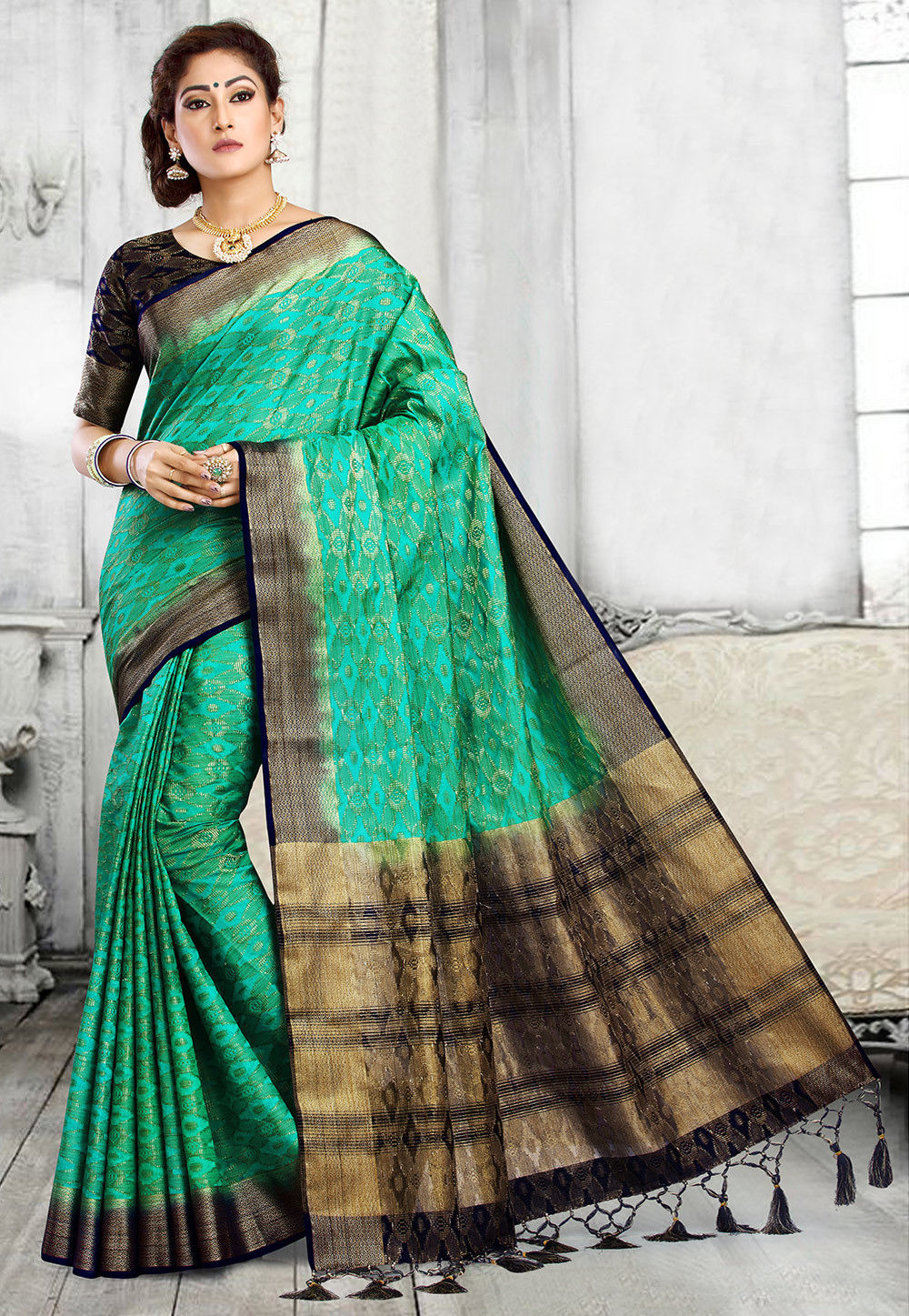 Woven Art Silk Saree in Teal Green and Navy Blue