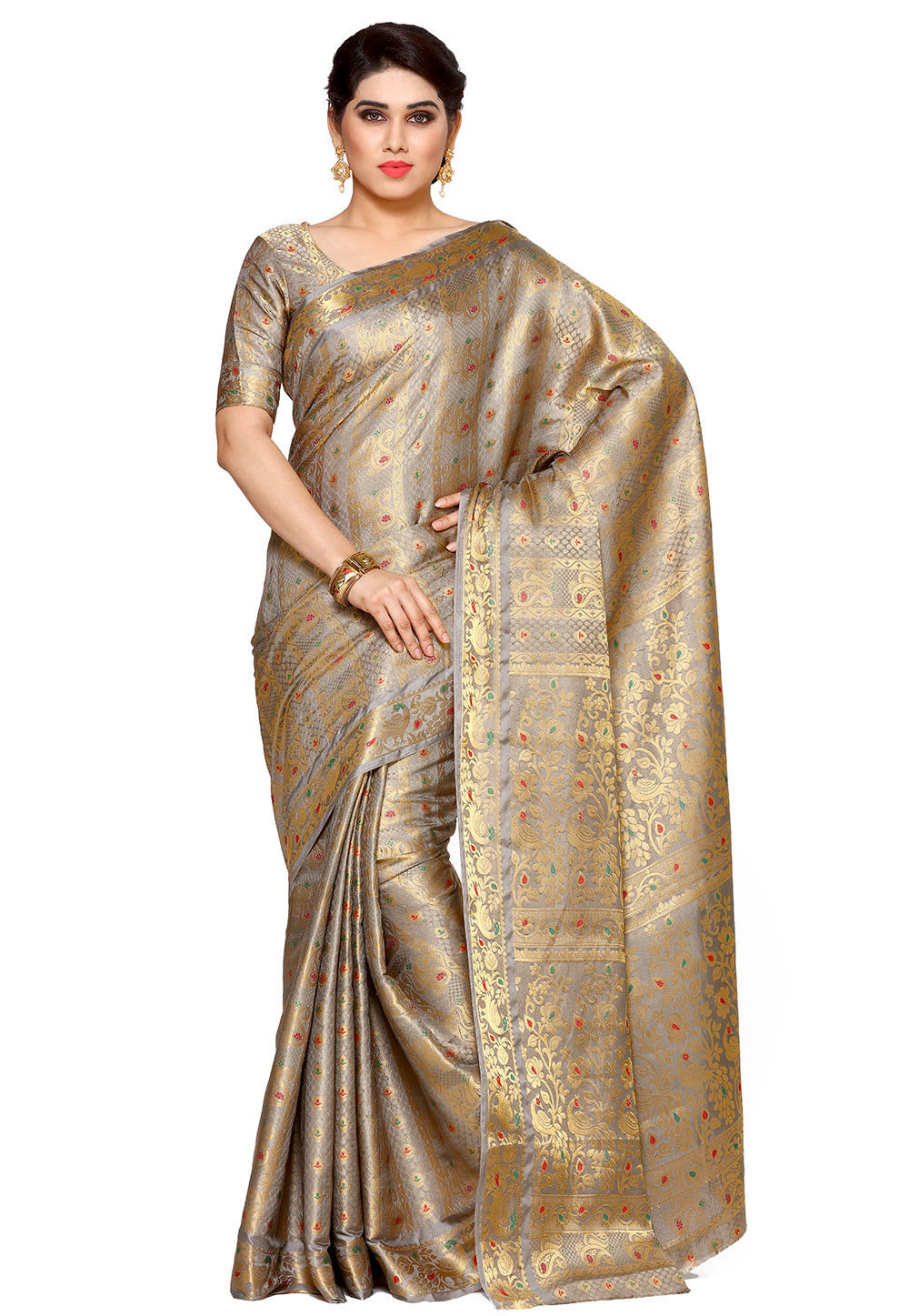 a798902c91cf0 Woven Bangalore Silk Saree in Grey and Golden   SNGA293