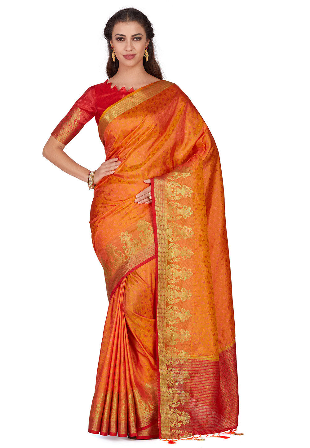 Woven Bangalore Silk Saree in Orange