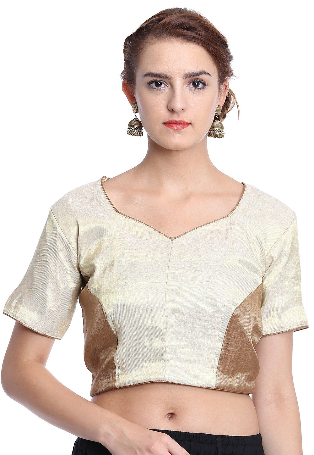450dbd79fb96a Woven Brocade Blouse in Off White   UBD943