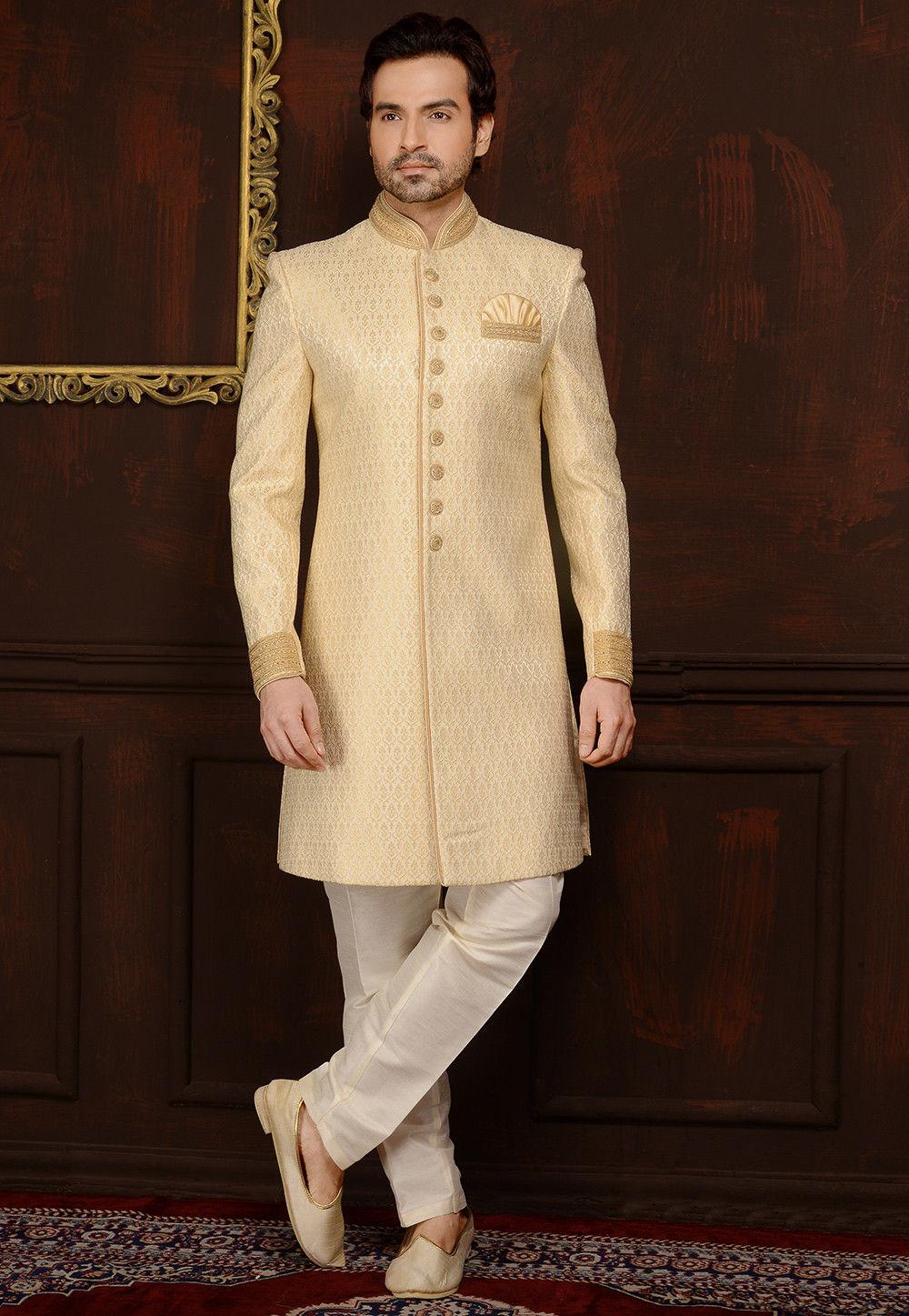 fd41224839 Woven Brocade Silk Sherwani in Cream : MGV312