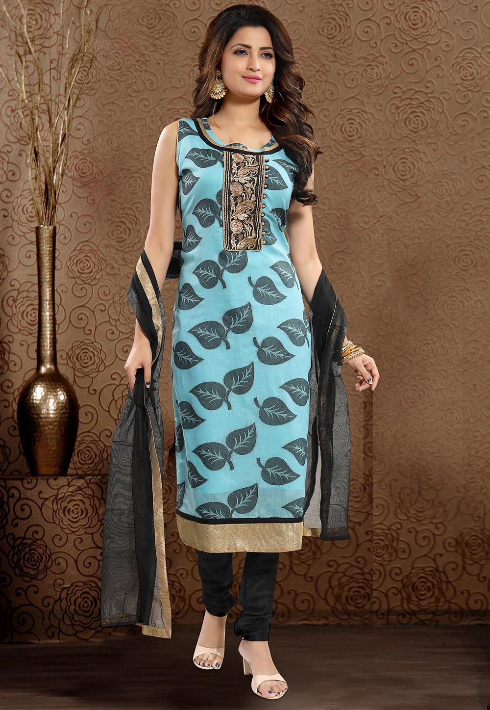 47a1c66a47 ... Woven Chanderi Cotton Straight Suit in Sky Blue. Zoom