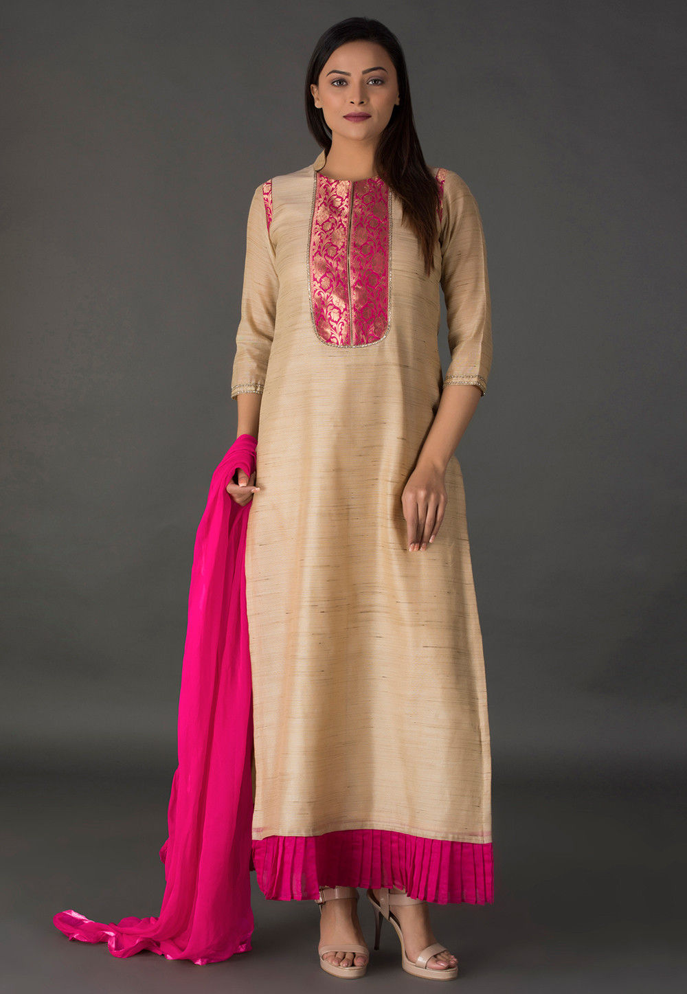 Woven Chanderi Silk Jacquard Straight Suit in Beige