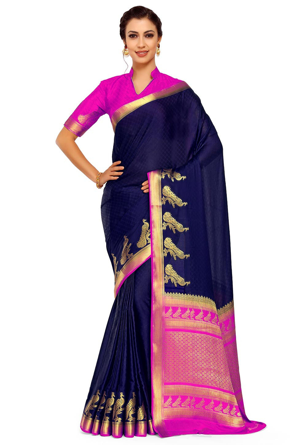 Woven Crepe Jacquard Saree in Navy Blue