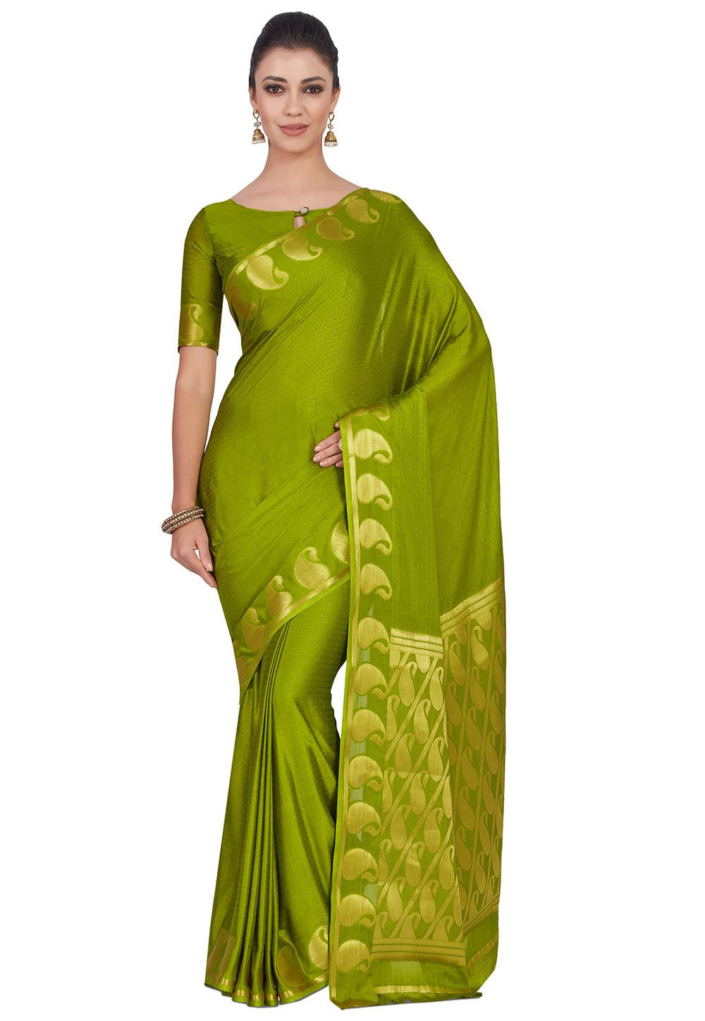 Woven Crepe Jacquard Saree in Olive Green