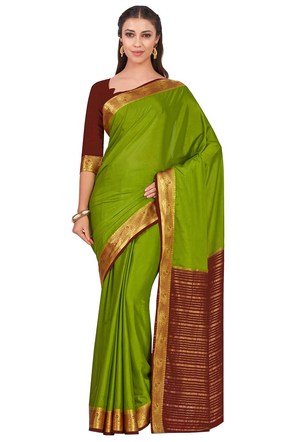 Woven Crepe Saree in Green