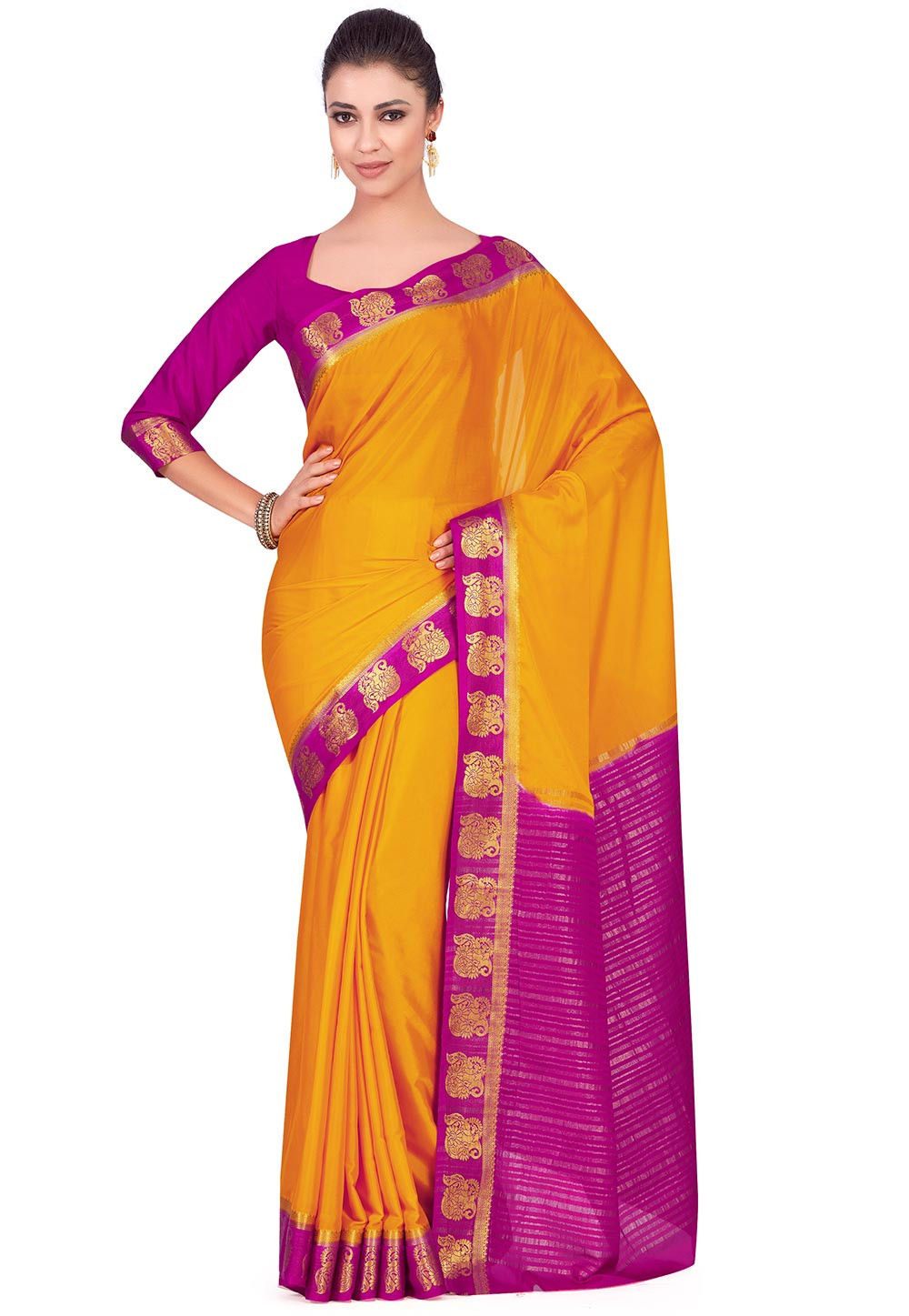 Woven Crepe Saree in Mustard