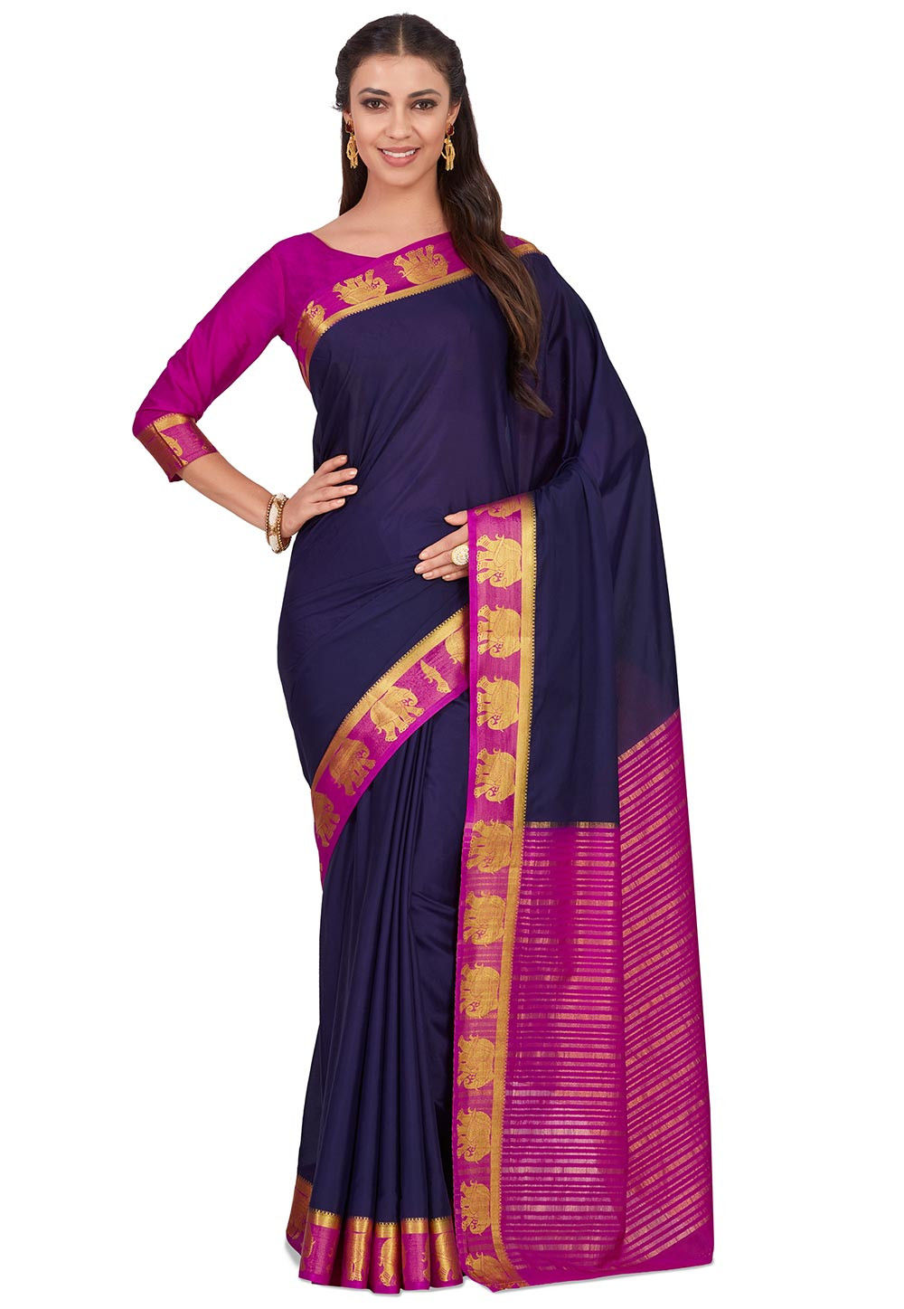 Woven Crepe Saree in Navy Blue