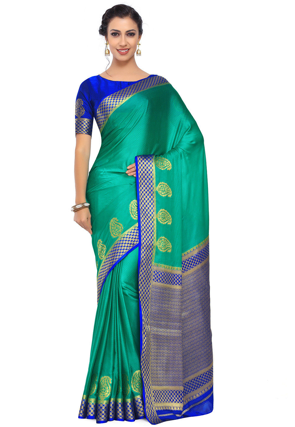 Woven Crepe Saree in Teal Green