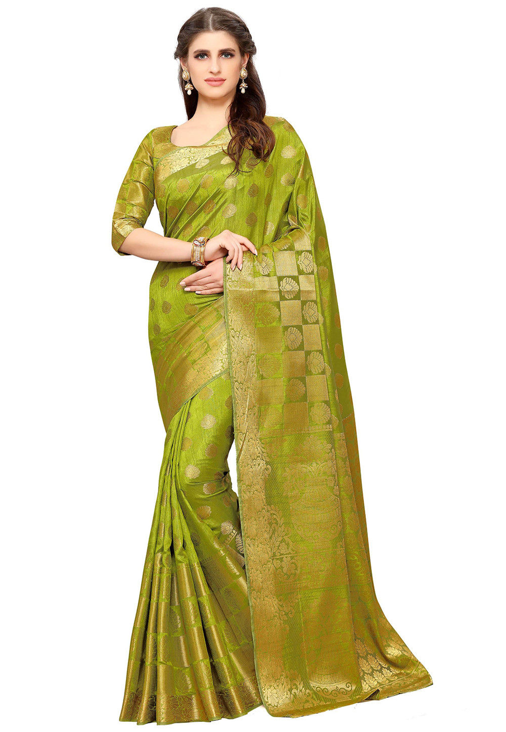 Woven Dupion Silk Saree in Olive Green