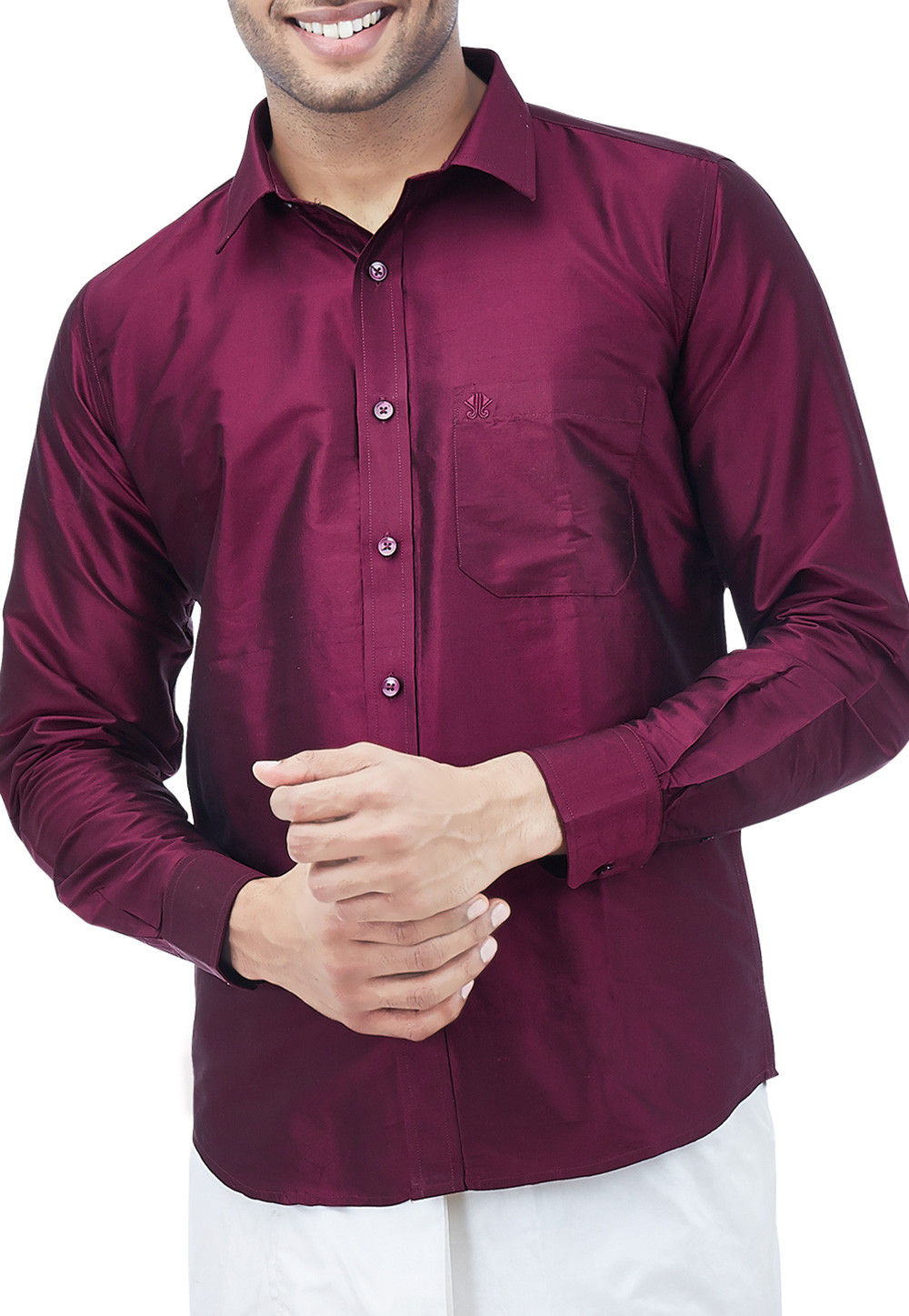 0d066d76412f38 Woven Pure Silk Dhoti with Shirt in Maroon   MXT169