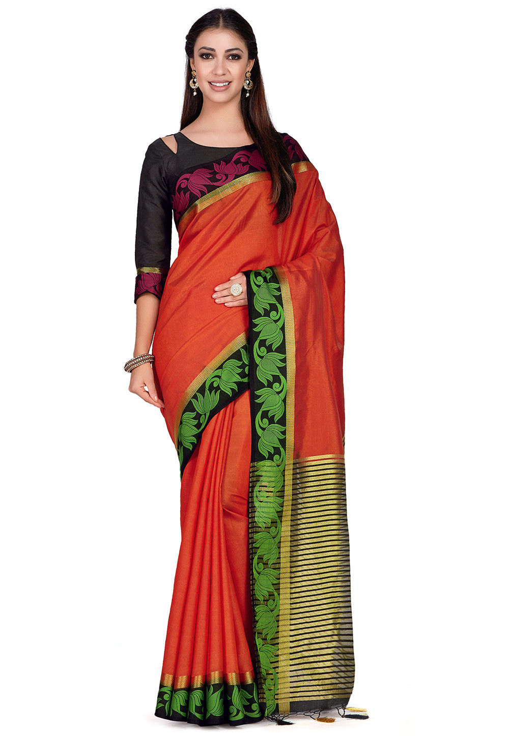 Woven Tussar Silk Saree in Orange