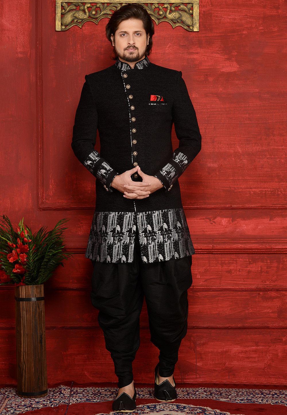 Woven Velvet Jacquard Sherwani in Black