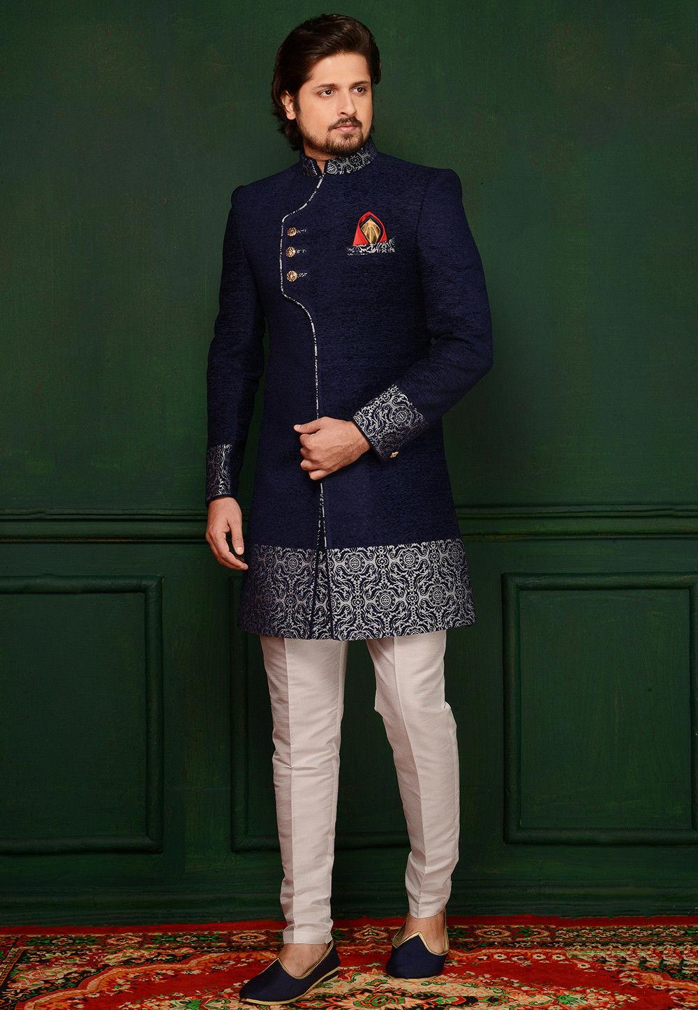 Woven Velvet Jacquard Sherwani in Blue