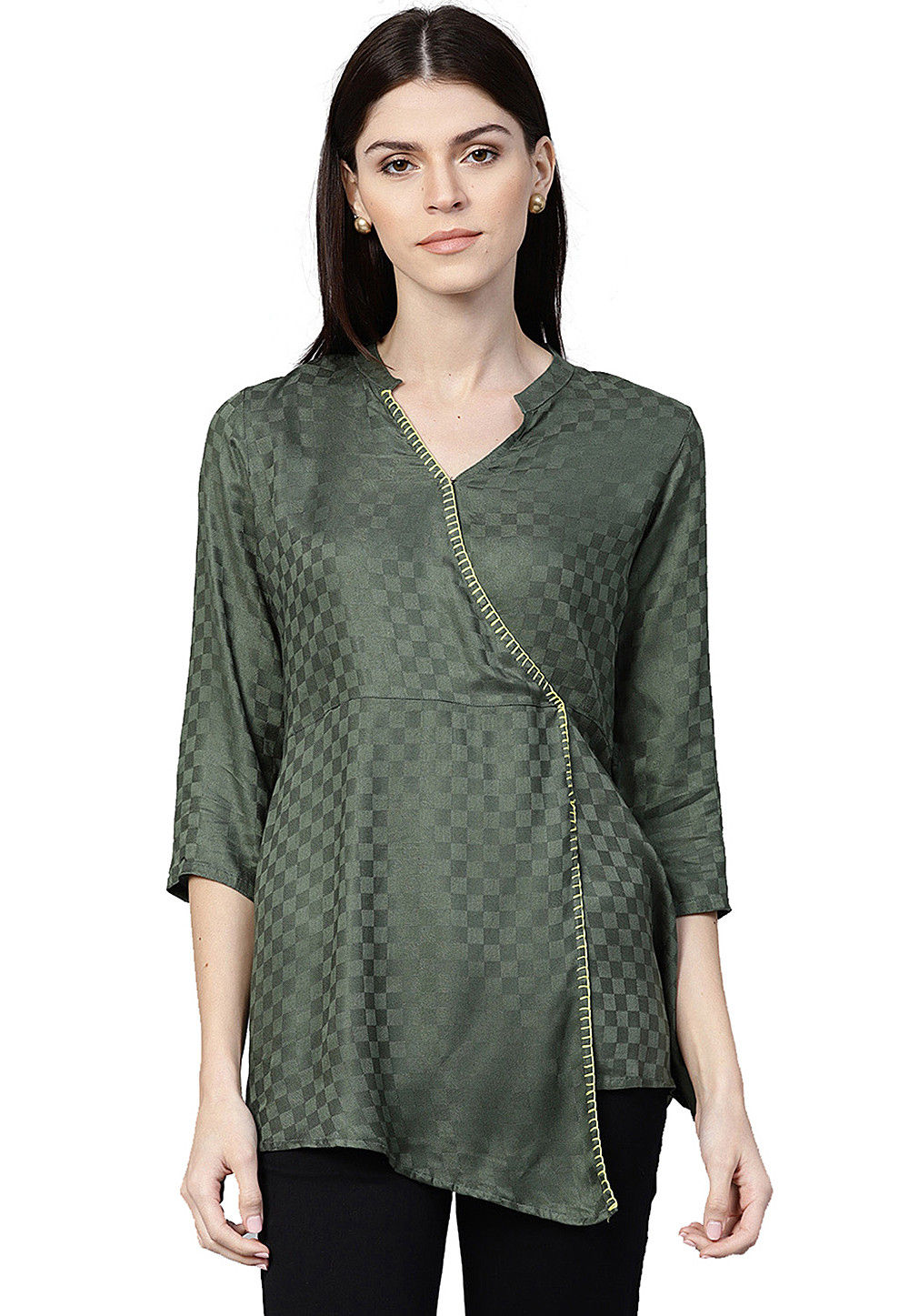 Woven Viscose Rayon Angrakha Style Top in Olive Green