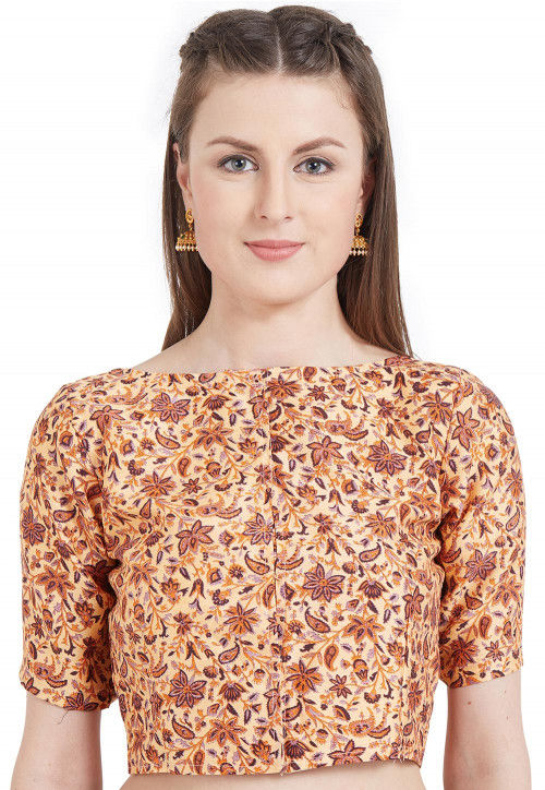 Abstract Printed Art Silk Blouse in Beige