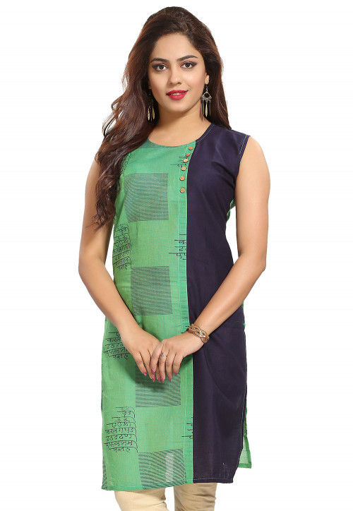 Abstract Printed Cotton Straight Kurti in Green and Navy Blue