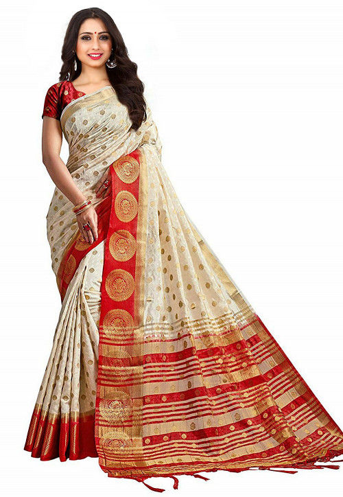 Kanchipuram Saree in Off White and Red