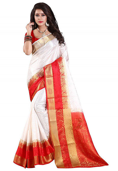 Woven Art Silk Jacquard Saree in White and Red