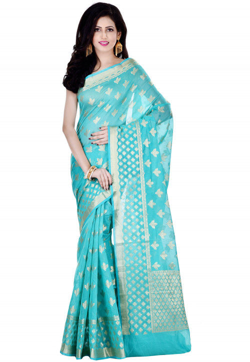 Banarasi Cotton Silk Saree in Turquoise