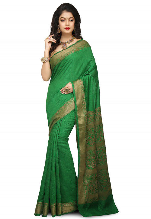 0709aedea71675 Banarasi Pure Muga Silk Saree in Green : SNEA1354