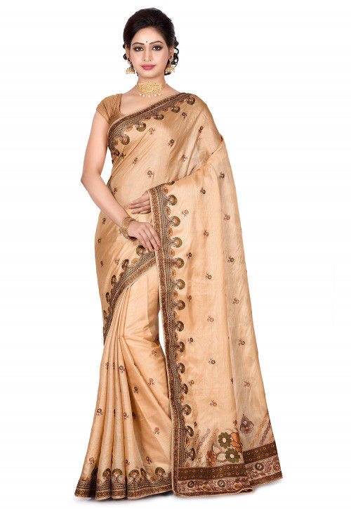Banarasi Pure Tussar Silk Saree in Beige