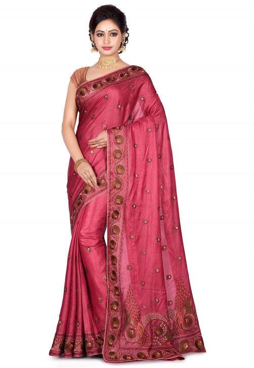 Banarasi Pure Tussar Silk Saree in Dark Old Rose