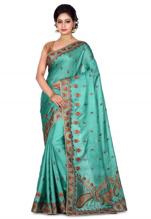 Banarasi Pure Tussar Silk Saree in Light Teal Green