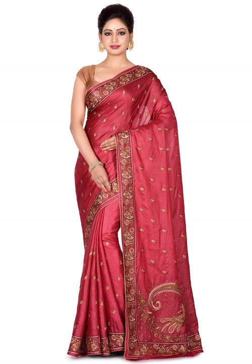Banarasi Pure Tussar Silk Saree in Maroon