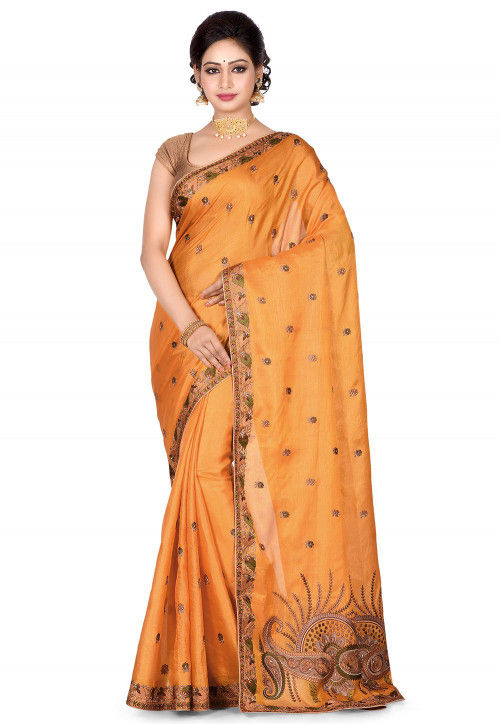 Banarasi Pure Tussar Silk Saree in Mustard