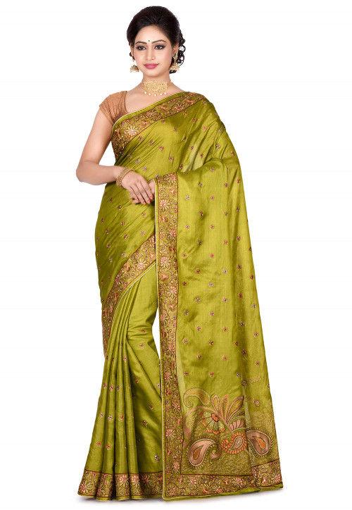 Banarasi Pure Tussar Silk Saree in Olive Green