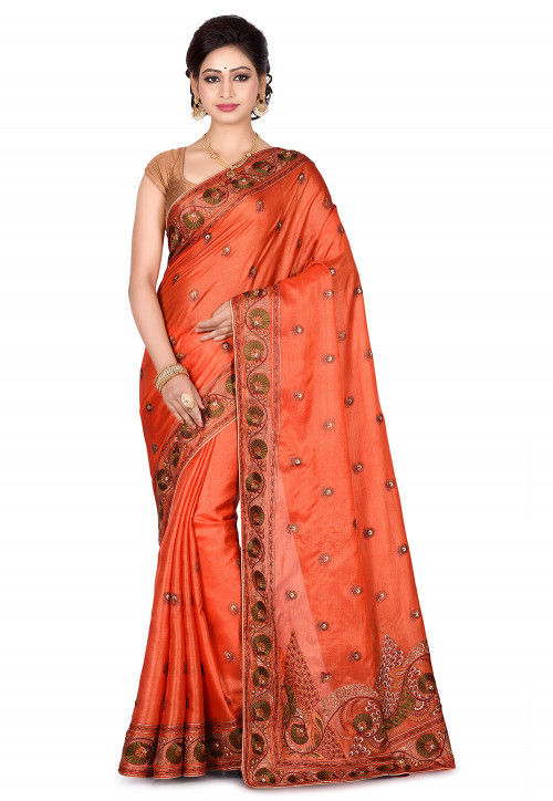 Banarasi Pure Tussar Silk Saree in Orange