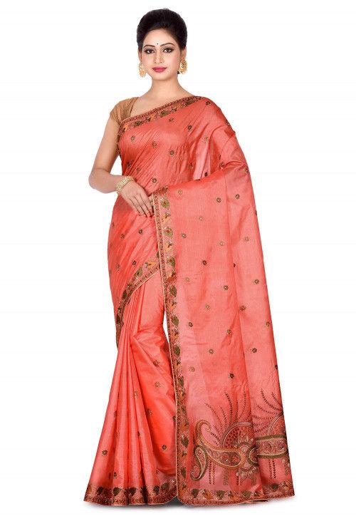 Banarasi Pure Tussar Silk Saree in Peach