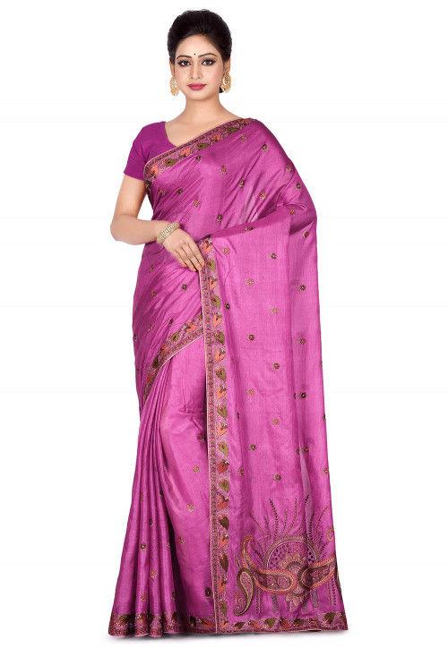 Banarasi Pure Tussar Silk Saree in Pink