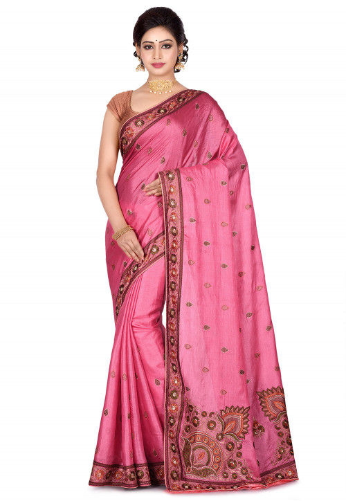 Banarasi Pure Tussar Silk Saree in Pink