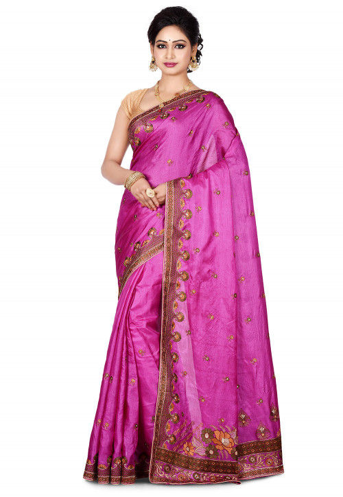 Banarasi Pure Tussar Silk Saree in Purple