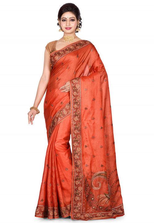 Banarasi Pure Tussar Silk Saree in Rust