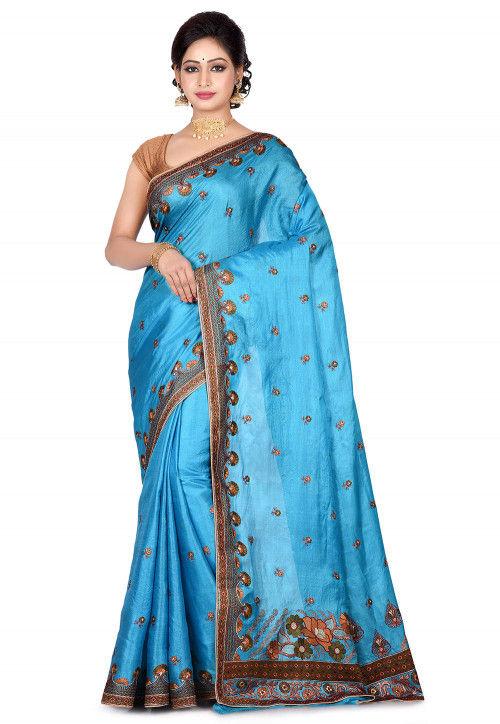 Banarasi Pure Tussar Silk Saree in Sky Blue