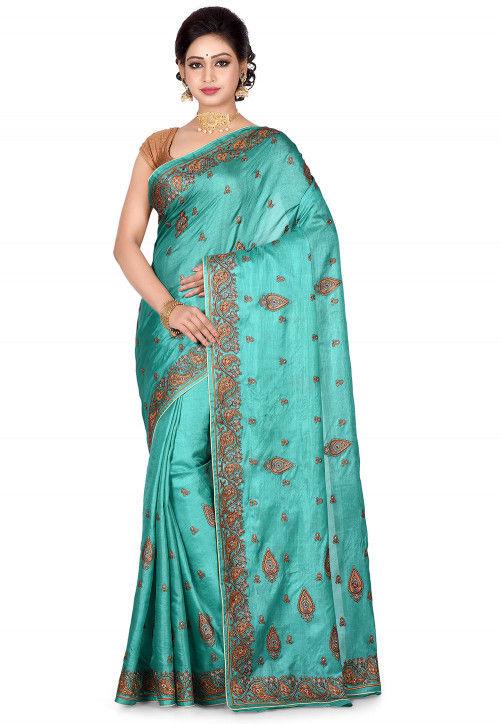 Banarasi Pure Tussar Silk Saree in Turquoise