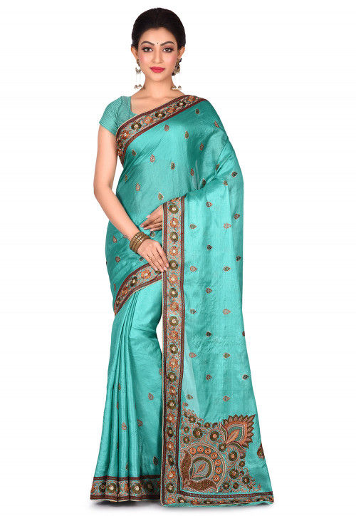 Banarasi Pure Tussar Silk Saree in Turquoise