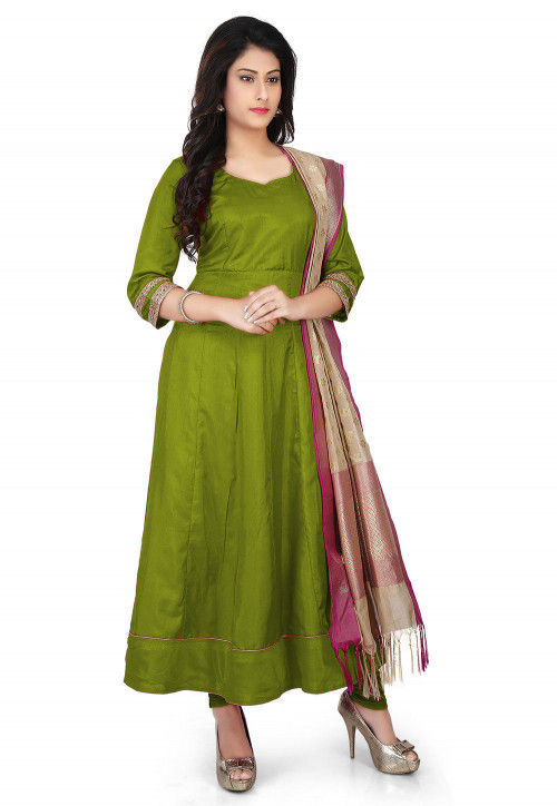 Banarasi Silk Anarkali Suit in Light Olive Green