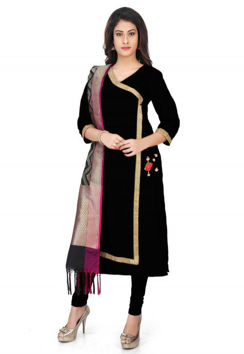 Banarasi Silk Angrakha Style Suit with Pure Silk Dupatta in Black