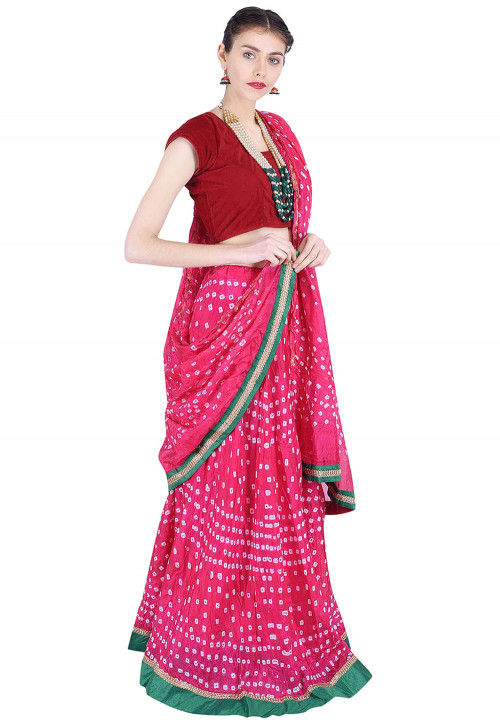 Bandhej Art Silk Lehenga in Fuchsia