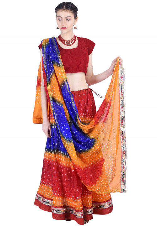 Bandhej Art Silk Lehenga in Multicolor