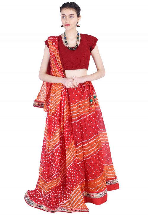 Bandhej Art Silk Lehenga in Red and Orange