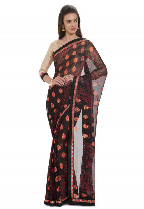 Bandhej Chiffon Saree in Black and Red