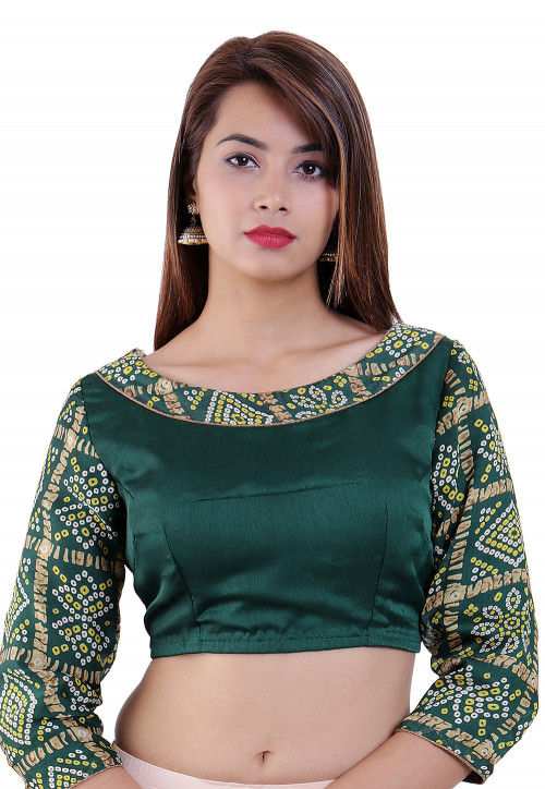 Bandhej Printed Crepe Padded Blouse in Dark Green